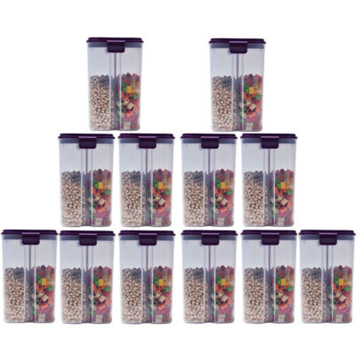 SOLOMON 2 SECTION CONTAINER 2500ML (PURPLE) Pack of 12