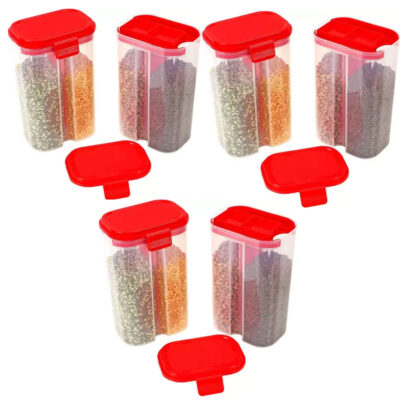 SOLOMON 2 SECTION CONTAINER 2500ML (RED) Pack of 6