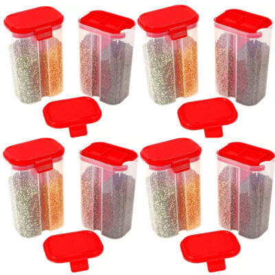 SOLOMON 2 SECTION CONTAINER 2500ML (RED) Pack of 8