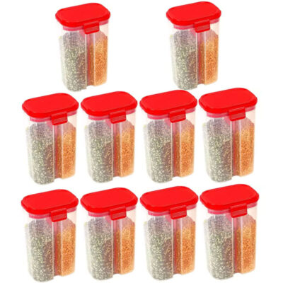 SOLOMON 2 SECTION CONTAINER 2500ML (RED) Pack of 10