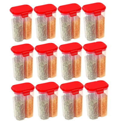 SOLOMON 2 SECTION CONTAINER 2500ML (RED) Pack of 12
