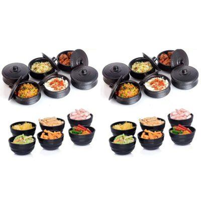 Solomon Premium Plastic Handi Shape 250ML Serving Bowl with Lid & Round Shape 150 ML Serving Bowl for Your Dinning Table Pack of 24 Pcs (Black)