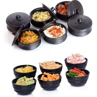 Solomon Premium Plastic Handi Shape 250ML Serving Bowl with Lid & Round Shape 150 ML Serving Bowl for Your Dinning Table Pack of 12Pcs (Black)