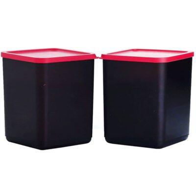 Plastic Square Container BLACK Pack of 2