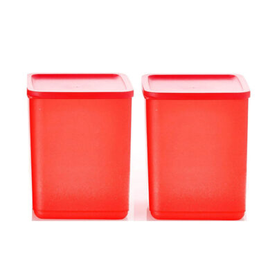 Plastic Square Container RED Pack of 2
