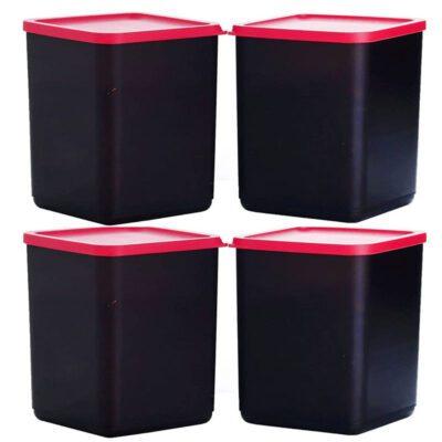 Plastic Square Container BLACK Pack of 4