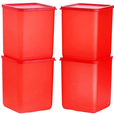 Plastic Square Container RED Pack of 4