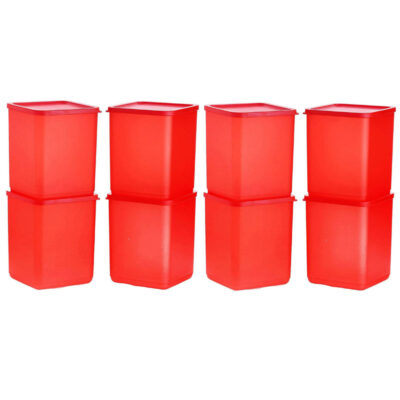 Plastic Square Container RED Pack of 8
