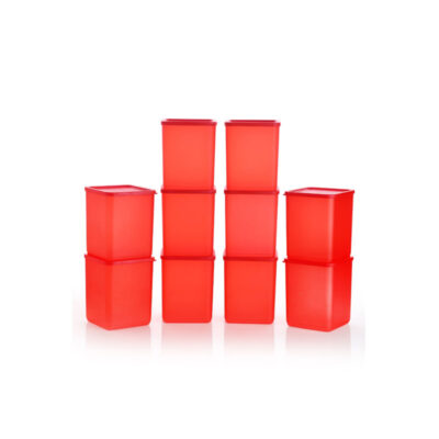 Plastic Square Container RED Pack of 10