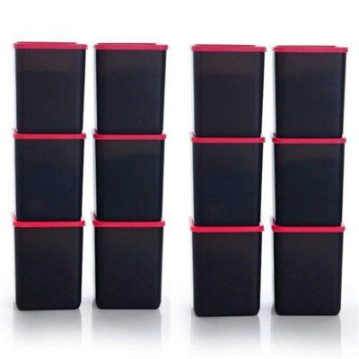 Plastic Square Container BLACK Pack of 12