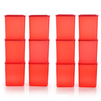 Plastic Square Container RED Pack of 12