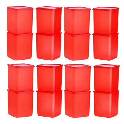Plastic Square Container RED Pack of 16