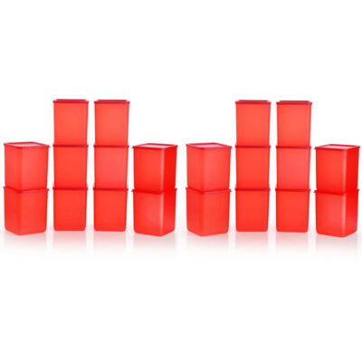 Plastic Square Container RED Pack of 20