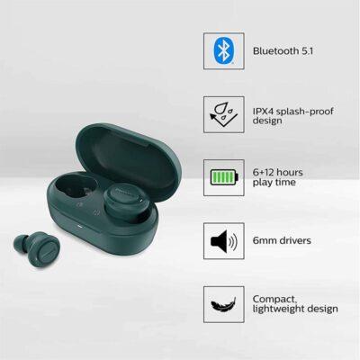 Philips TAT1225BL/94 True Wireless EarPods with Mic (Blue)