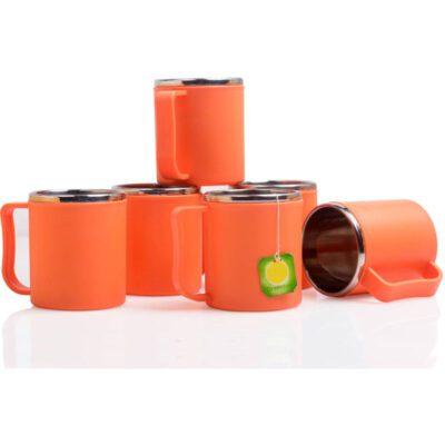 Steel Coffee Mug PACK OF 6 -ORANGE