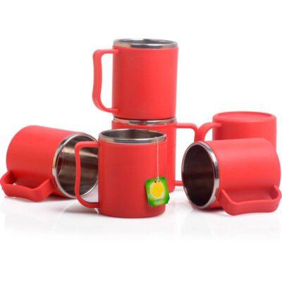 Steel Coffee Mug PACK OF 6 -RED