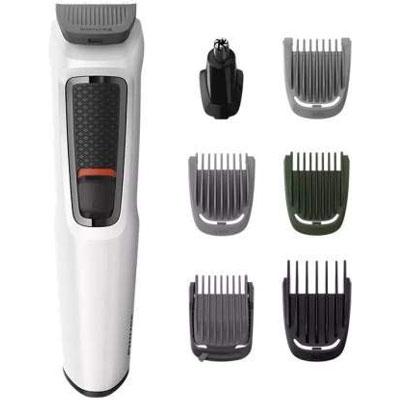 PHILIPS MG3721/77 Multi-Grooming Series 3000 7-in-1 for Face-Hair-Body-Nose and Ear Kit Runtime: 60 min Grooming Kit for Men (White, Black)