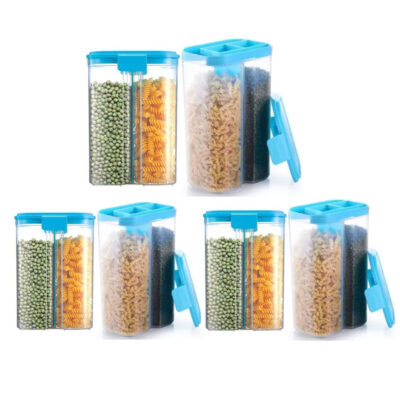 SOLOMON 2 SECTION CONTAINER 2500ML (BLUE) Pack of 6