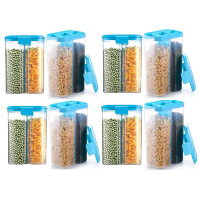 SOLOMON 2 SECTION CONTAINER 2500ML (BLUE) Pack of 8