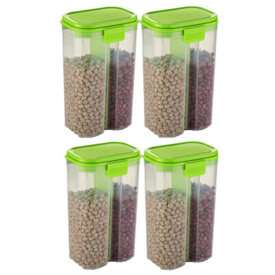 SOLOMON 2 SECTION CONTAINER 2500ML (GREEN) Pack of 4