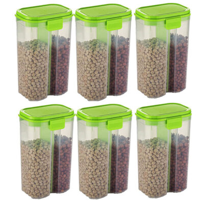 SOLOMON 2 SECTION CONTAINER 2500ML (GREEN) Pack of 6