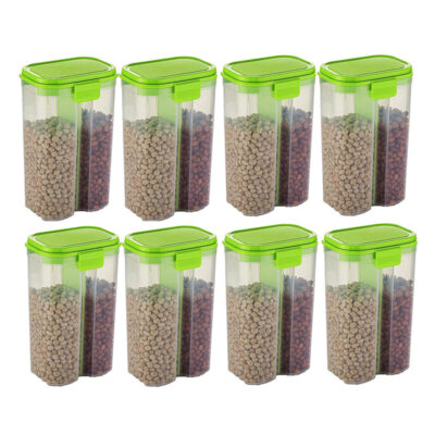 SOLOMON 2 SECTION CONTAINER 2500ML (GREEN) Pack of 8