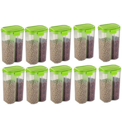 SOLOMON 2 SECTION CONTAINER 2500ML (GREEN) Pack of 10