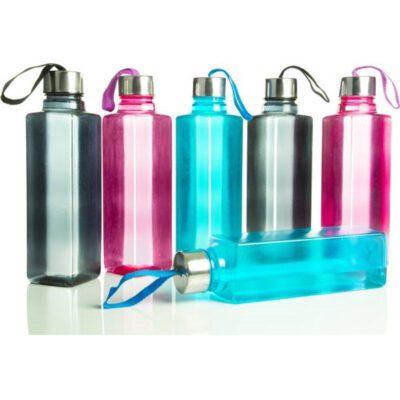 Solomon Square Plastic Water Bottle for Fridge (Multicolor) Pack of 6