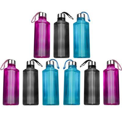 Solomon Square Plastic Water Bottle for Fridge (Multicolor) Pack of 9