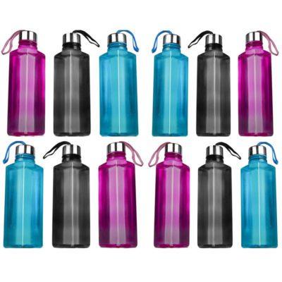 Solomon Square Plastic Water Bottle for Fridge (Multicolor) Pack of 12
