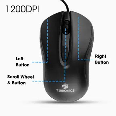 ZEBRONICS ZEB-WING Wired Optical Mouse (USB 2.0, Black)