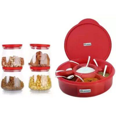 Matuki Container 4 Pcs & 1 Pcs Prospice Masala Box RED
