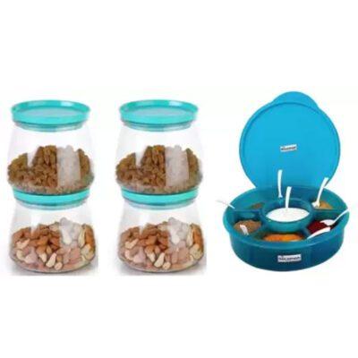 Matuki Container 4 Pcs & 1 Pcs Prospice Masala Box (Blue)